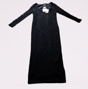 Asos maternity black long sleeve lace maxi 6L